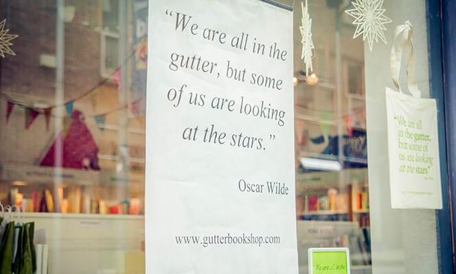 Oscar Wilde quote in the window of the Gutter Bookshop