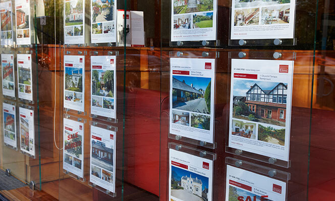 window of estate agents