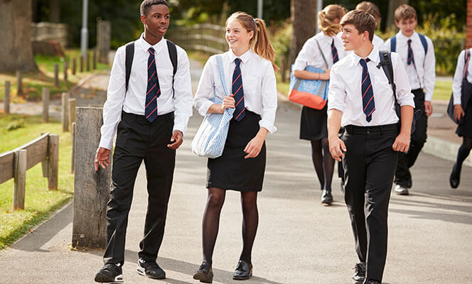 Teenage students heading to school