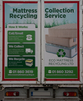 Mattress recycling van doors with contact details