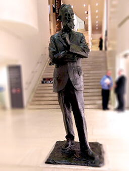 Statue of the tall thin frame of George Bernard Shaw which greets you at the door of Dublin's National Gallery.
