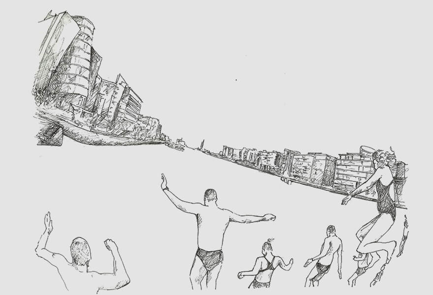 Vanessa Daws' drawing of swimmers jumping into the River Lifey