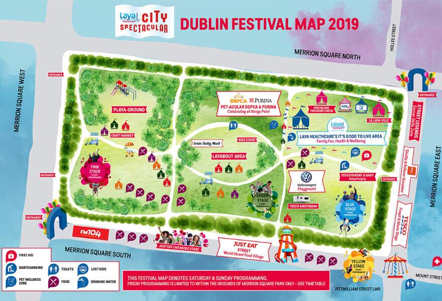 Laya Healthcare City Spectacular Dublin Festival Map 2019.