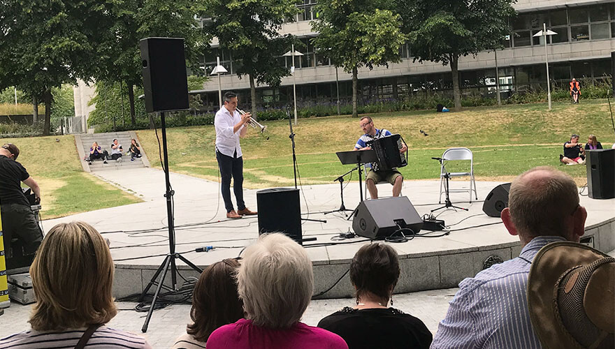 Trumpeter, Niall O'Sullivan and accordionist, Dermot Dunne.